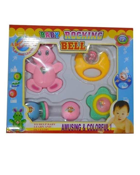 Baby Rocking Bell Rattle Set - 4 Pcs - Multicolor