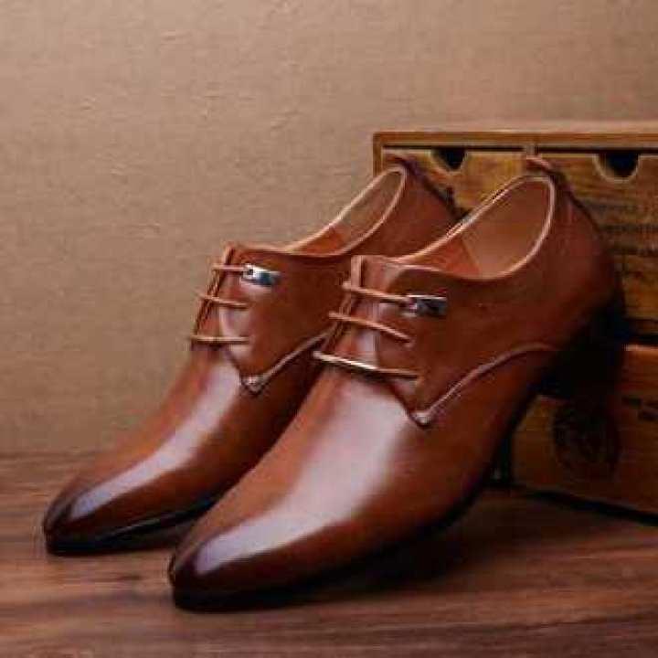 Dark Brown Leather Designer Lace-Up Formal Shoes For Men