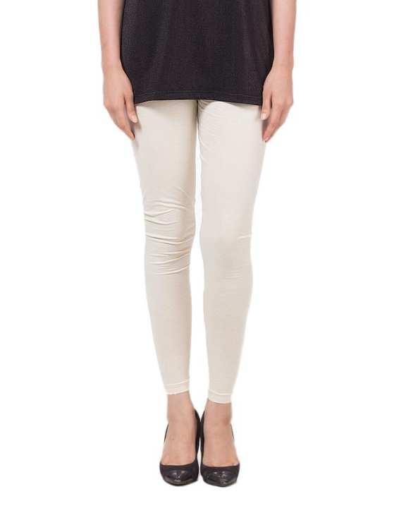 Off-White Cotton Regular-Fit Tights & Leggings For Women