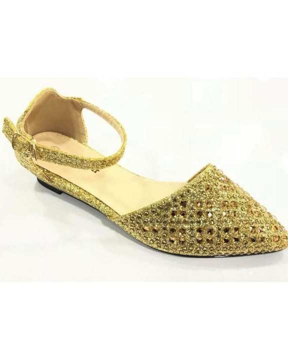Imported Shoes For Ladies Fancy Material With Imported Stuff-929-D5-Golden-42