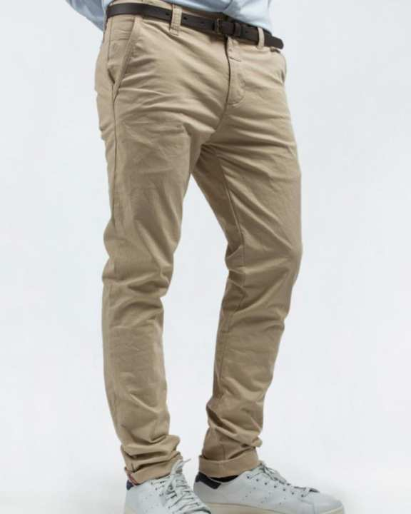 Beige Cotton Chino Pant For Men