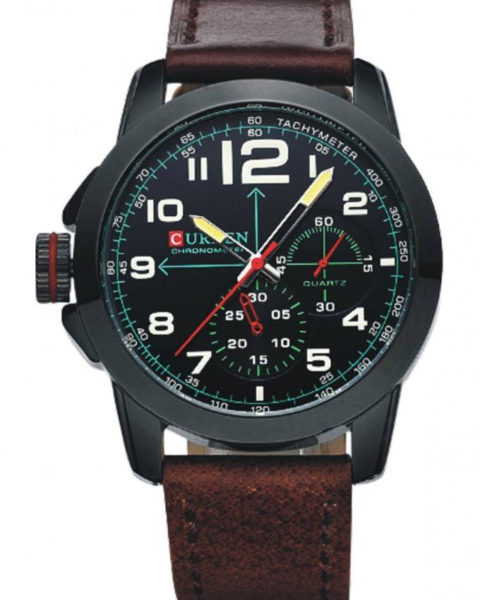 8182 - Black Leather Analog Watch for Men