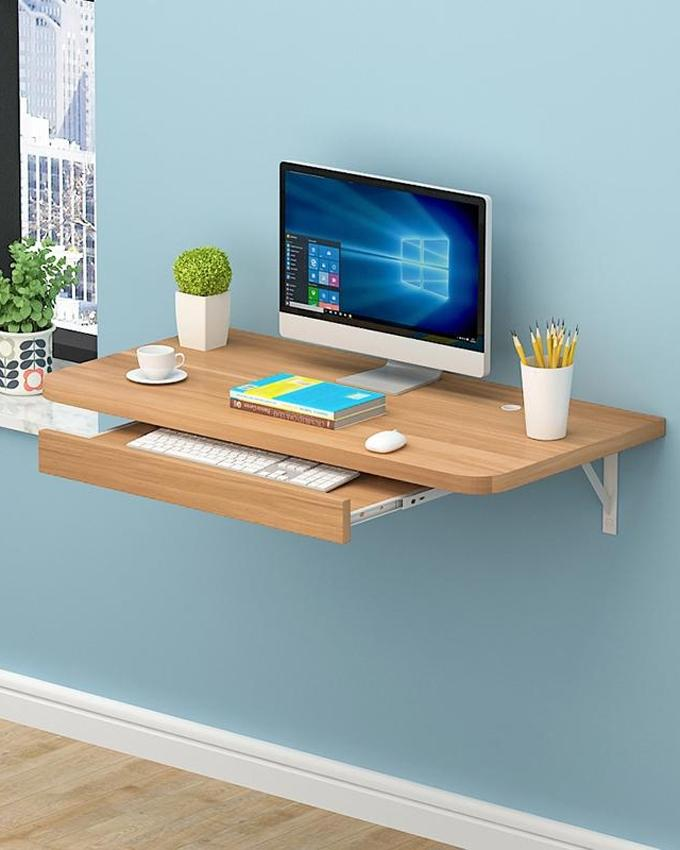 Portable Table Laptop Simple Office Wall Mounted Computer Desk Pine Color 19 X