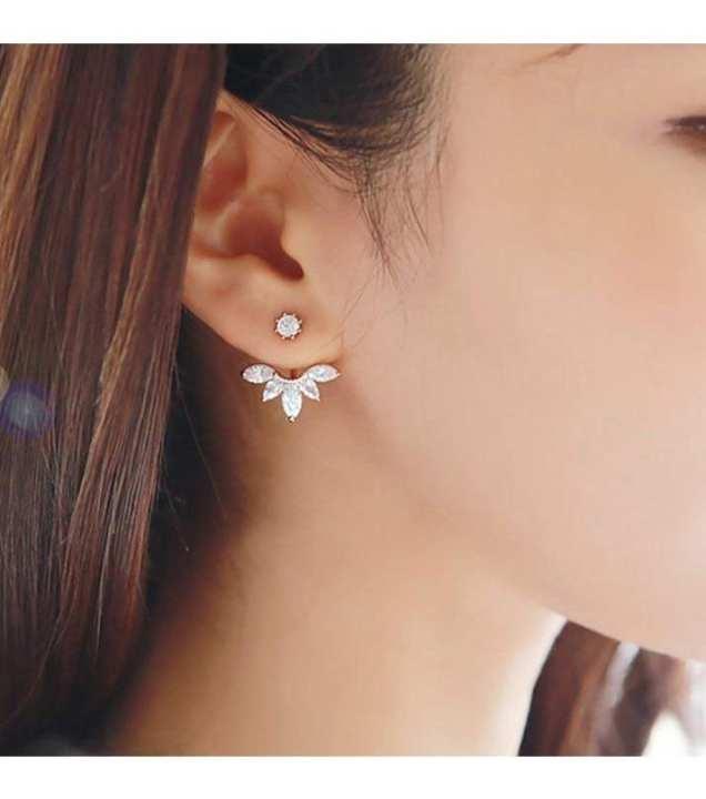 Crystal Leaf Back Ear Cuffs Earring For Women - Golden