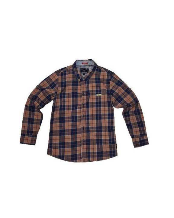 Brown Cotton Check Shirt For Boys