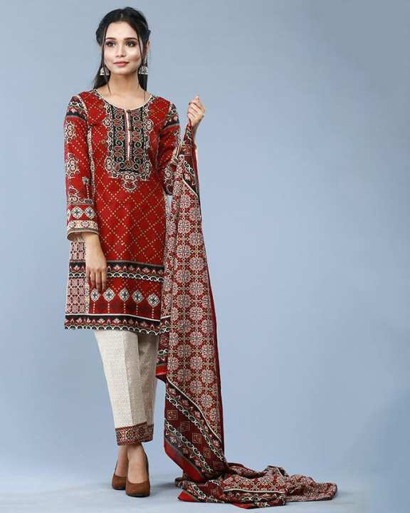 3PC Printed Unstitched Cotton Suit - Fall Collection  - MC - 6