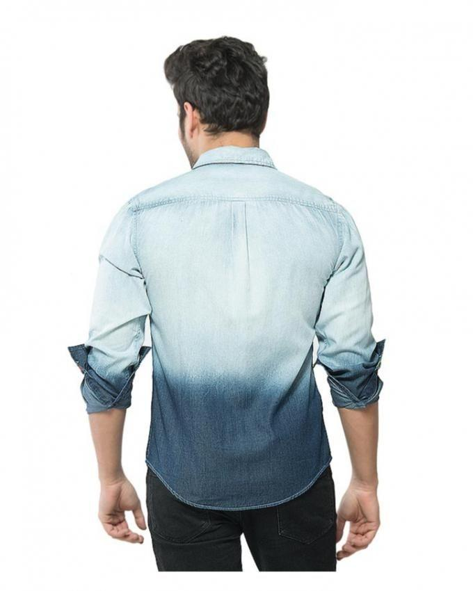Blue - Denim - Shirt with Printed Yoke & Dip Wash for Men