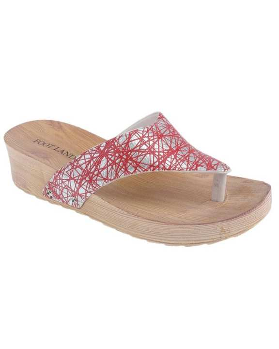 Red Imported Glittery Wedge Slippers for Women - MT29