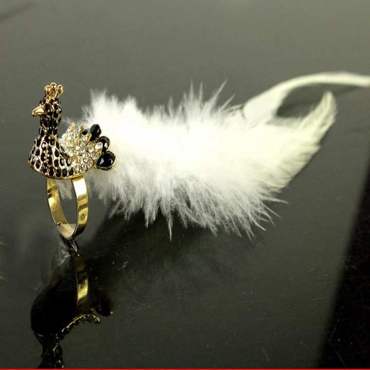 Peacock Ring With White Feathers, Stones
