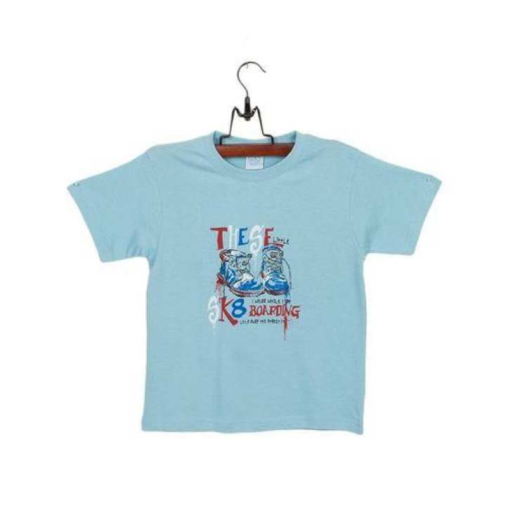 Sky Blue Cotton Jersey T-Shirt with Printed Front for Boys