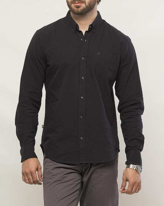 Black Button Down Shirt Pale Banana for Men  - Special Online Price