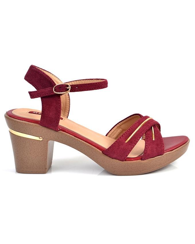 Red Medium Heel Sandal