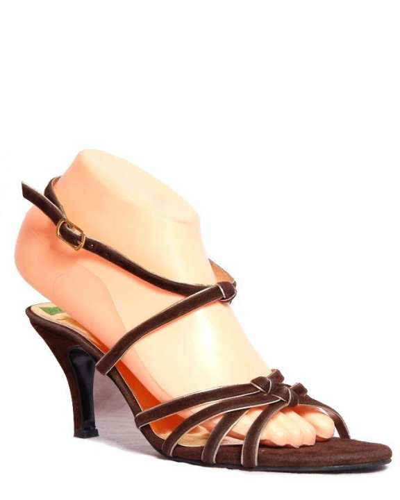 Copper Synthetic Leather Heels for Women - 2217A
