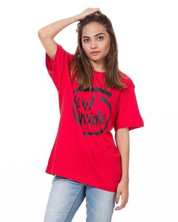 Red Cotton Devil Inside Printed T-shirt For Women
