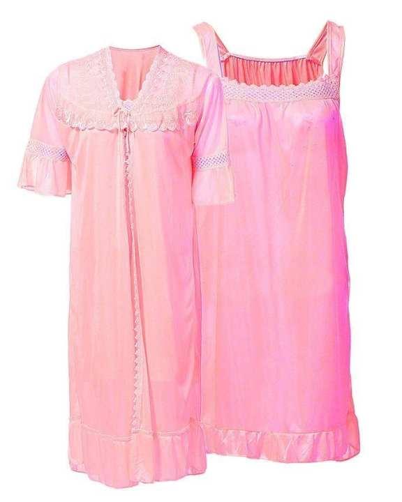 Peach Nylon & Net Blossom Nightwear For Women