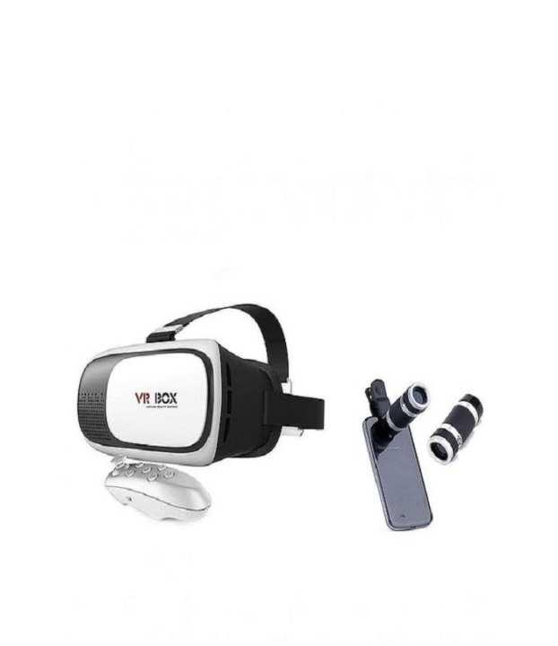 3D VR Box With Telescope Lens - White & Black