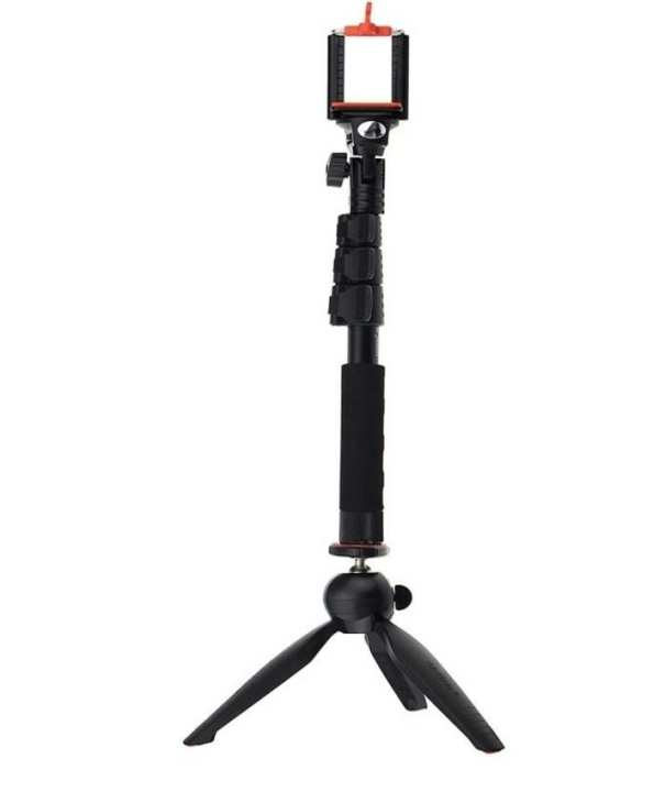 YT 1288 - Selfie Stick with 288 Mini Tripod stand - Black