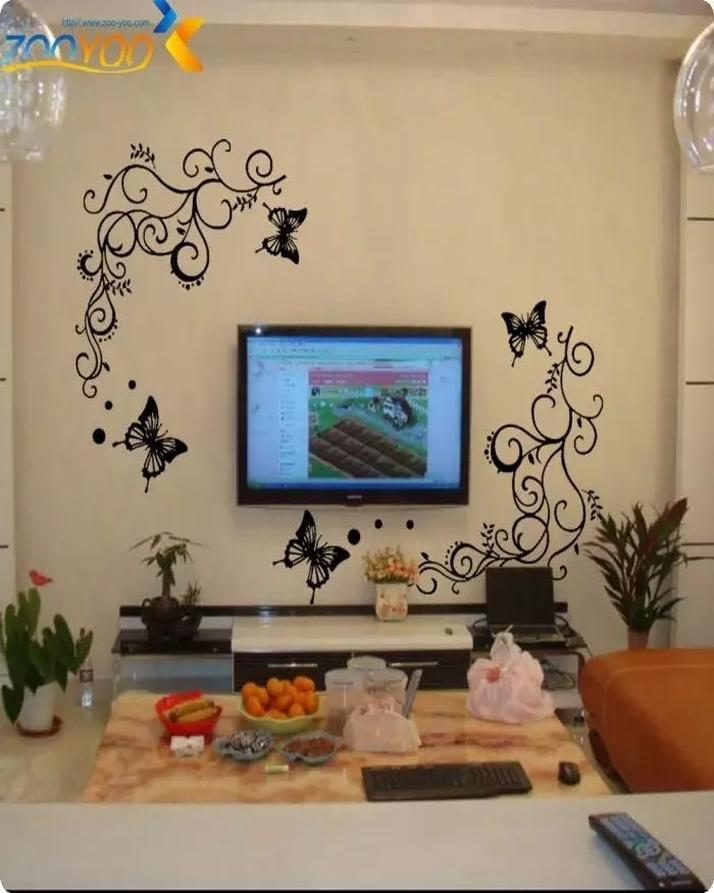 Wall Flower Stickers Black Home Decor Wall Floor Roof Door Window Glass Decoration New Shape Design