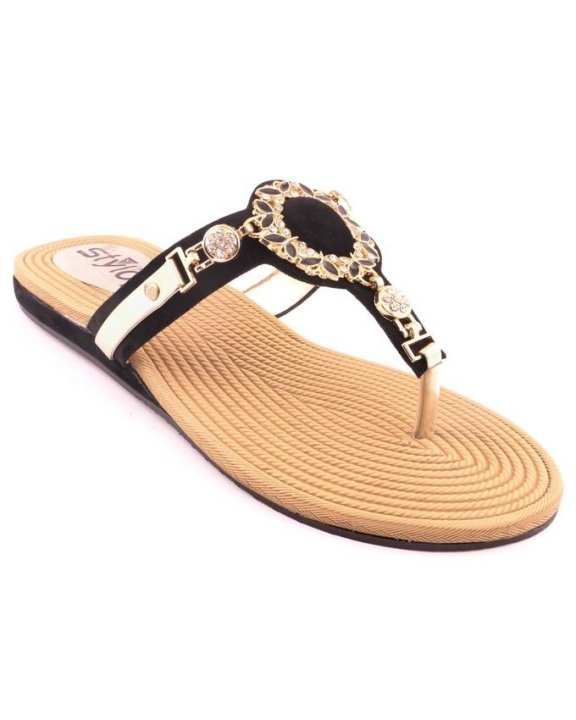 Black Synthetic Ladies Casual Chappal