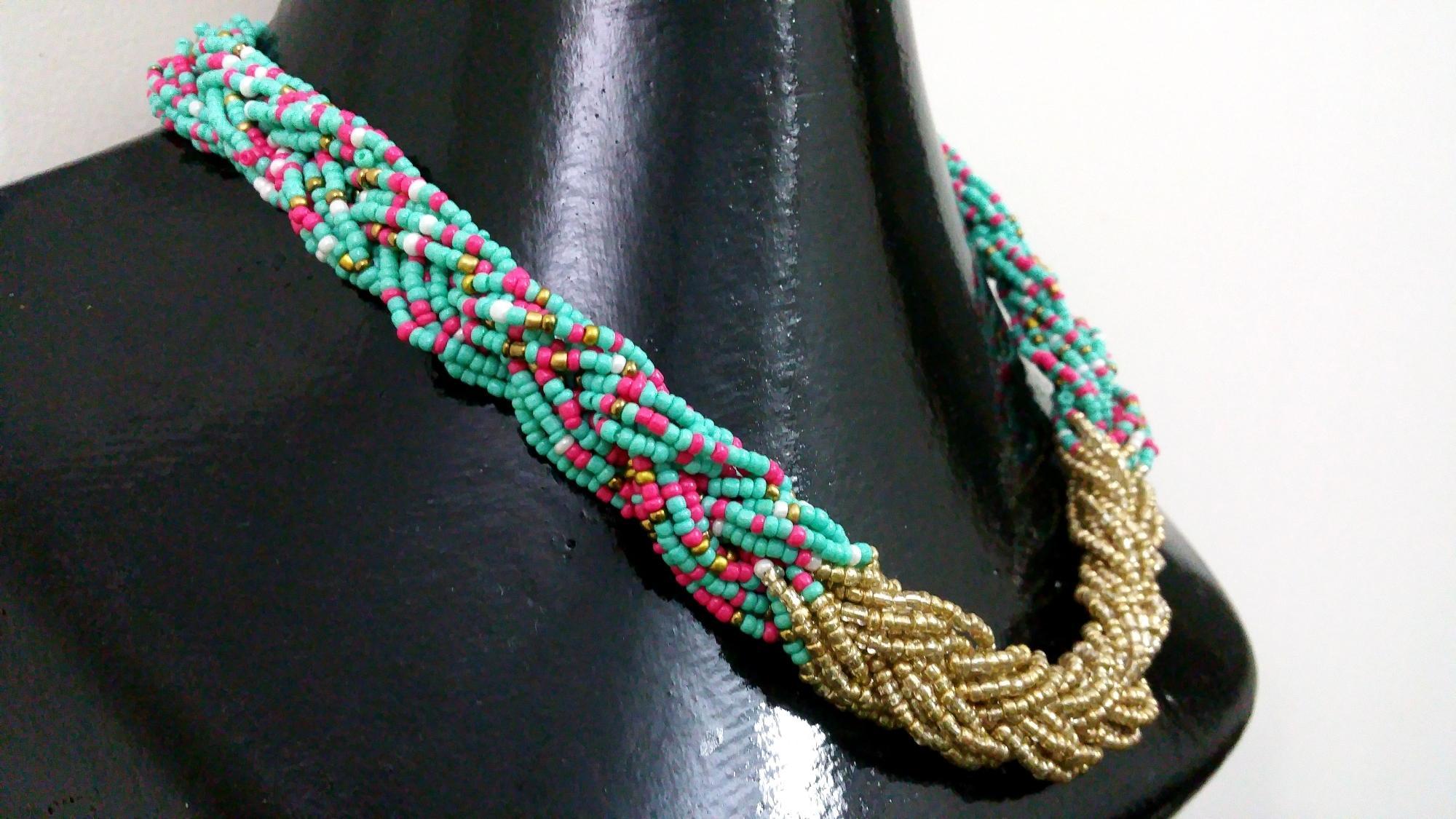 NéonKrallık Pastel Party Braided Bead Necklace (Multi Coloured)