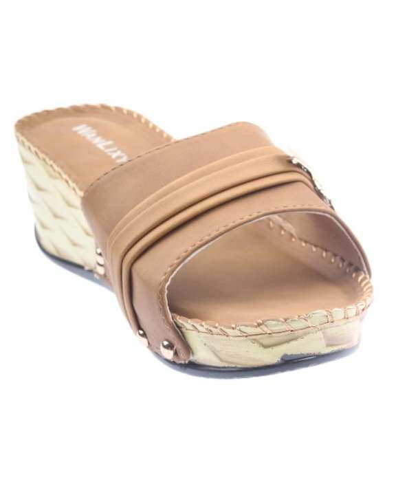 Brown Synthetic Leather Wedge for Women - QQ179