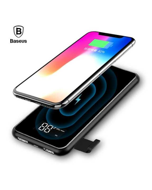 8000mAh QI Wireless Charger Power Bank with Digital Display