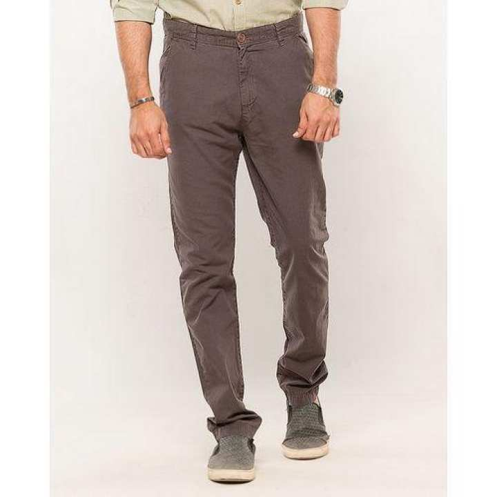 Dark Grey-Cotton-Stretch Men's Chino-Slim Fit - 30