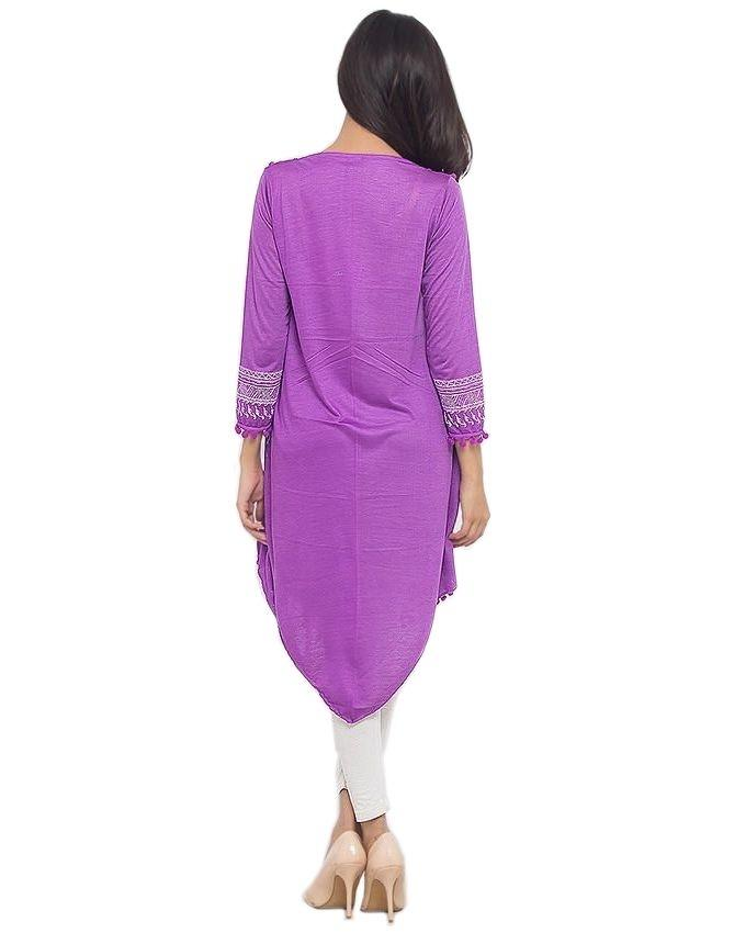Purple Cotton Printed Top For Women