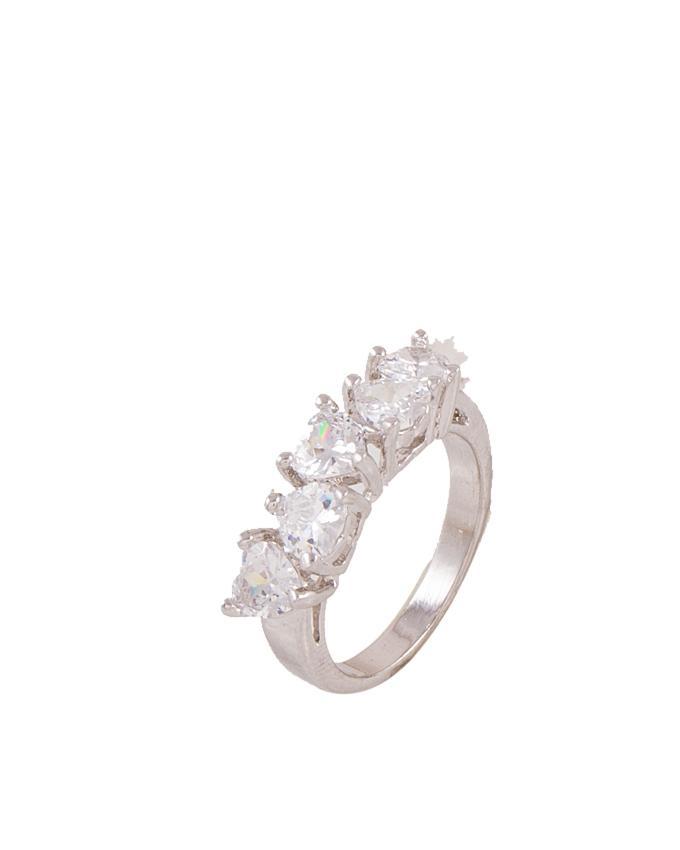 Silver Zircon & Alloy Studded Ring for Women - AK-9