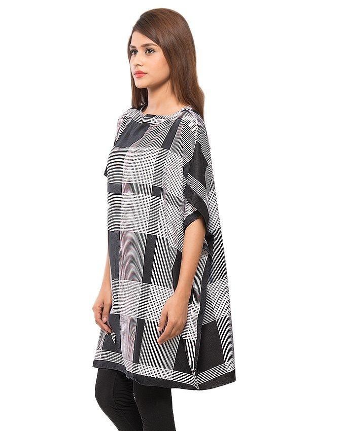 Black & White Stripe Printed Twill Peach Fabric Poncho - PON09-04