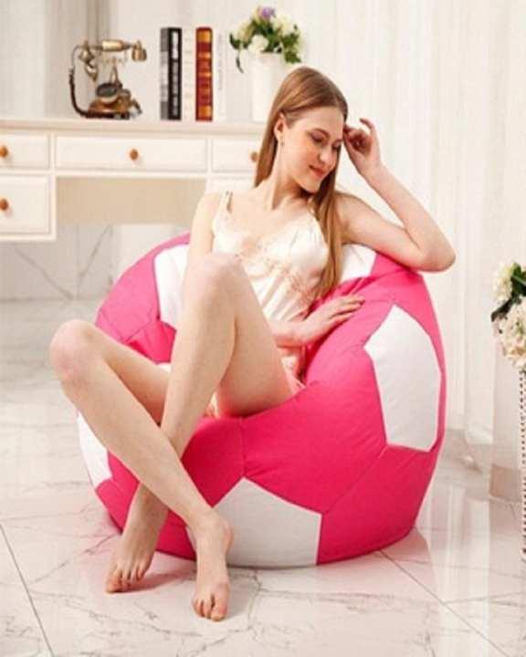 Football Craze Go Pink And White Bean Bag Softest Sofa XL