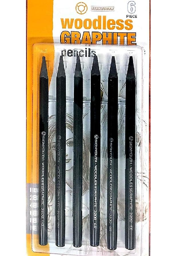Product details of Signyouth Set Of 6Pcs Woodless Graphite Pencils One Each Of Hb, 2B, 4B, 6B, 8B, Ee For Artistic Sketching And Portrait Making