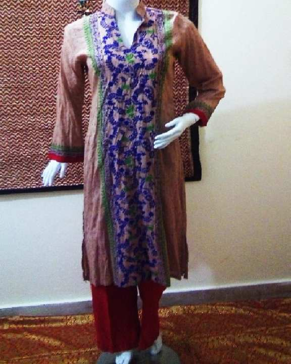 Camel & Red Pure Lawn, Pure Cotton Party Wear For Women