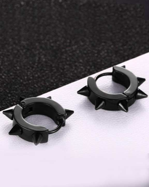GOLDEN LIGHT Black Magnetic Earrings For Men
