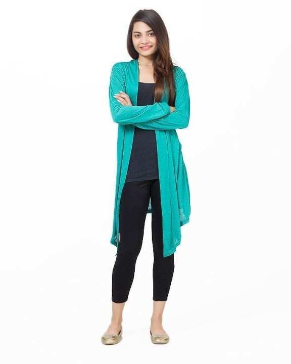 Teal Green Polyester & Viscose Shrug For Women