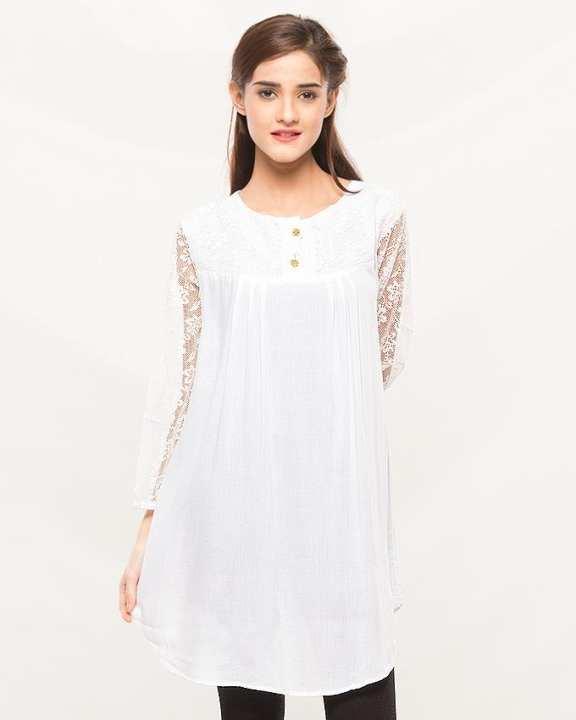 White Cotton Kurti for Women