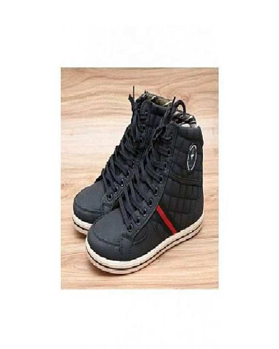 Black Stitched Design Casual Shoes For Men