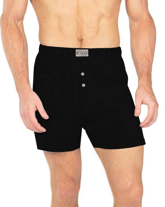 Single Jersey Boxer Shorts For Men-Black
