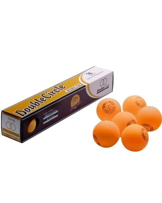 Pack of 6 - Double Circle Table Tennis Balls - Orange