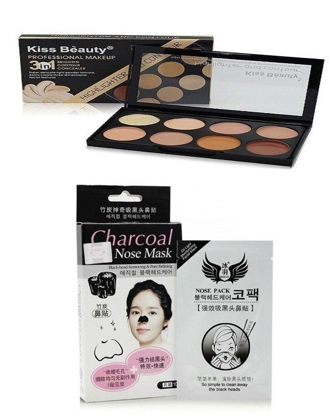 Pack of 2 - Kiss Beauty Contour Palette with Charcoal Nose Mask