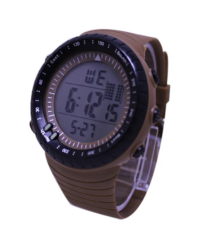 Smart Touch Red LED Round Watch - Golden Black