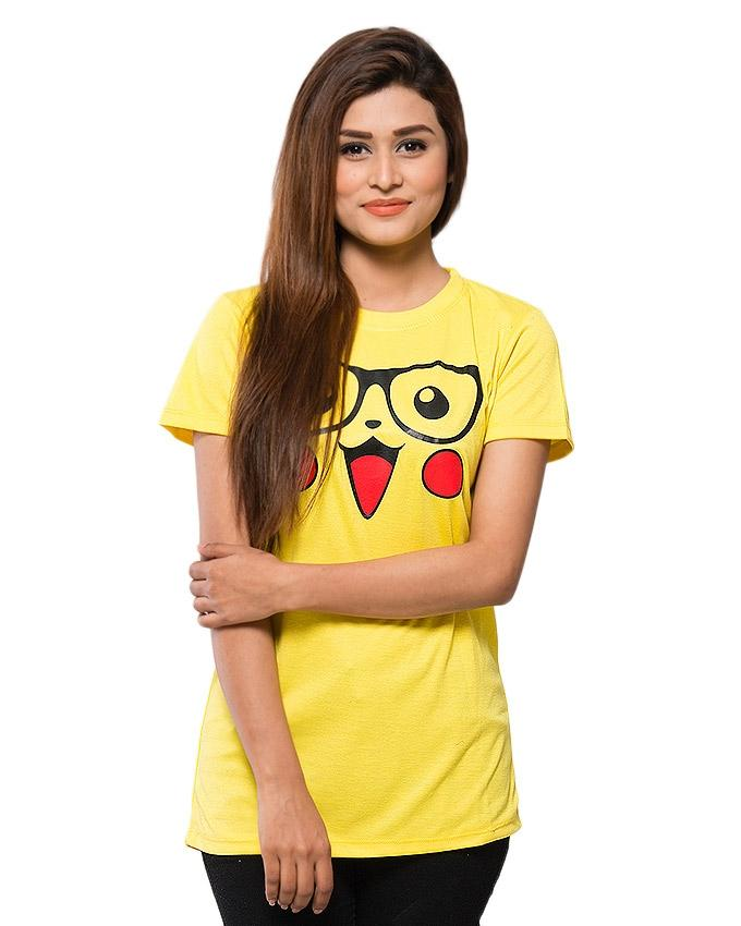 Yellow Blended Cotton Printed T-Shirt for Women