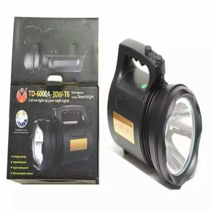 Rechargeable Supreme Search Light Range Water Proof and Flash Light Td 6000A 30W T6