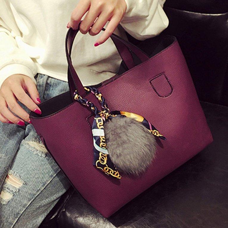 cb781a3b3774 Women Shoulder Bag Large Capacity Fur Ball Decoration Crossbody Messenger