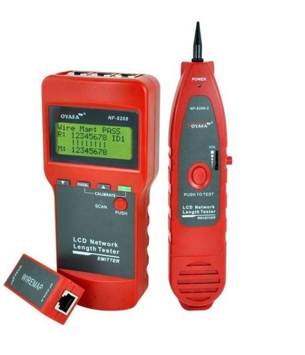 NF-8208 - LCD Display Network LAN Cable Tester - Red