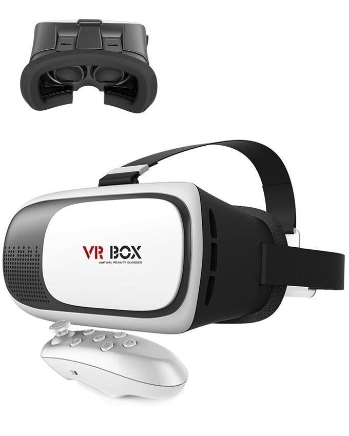 Pack of 3 - Virtual Reality Box 2.0 With Bluetooth Joystick Remote & Stereo Smartphone Handsfree - White