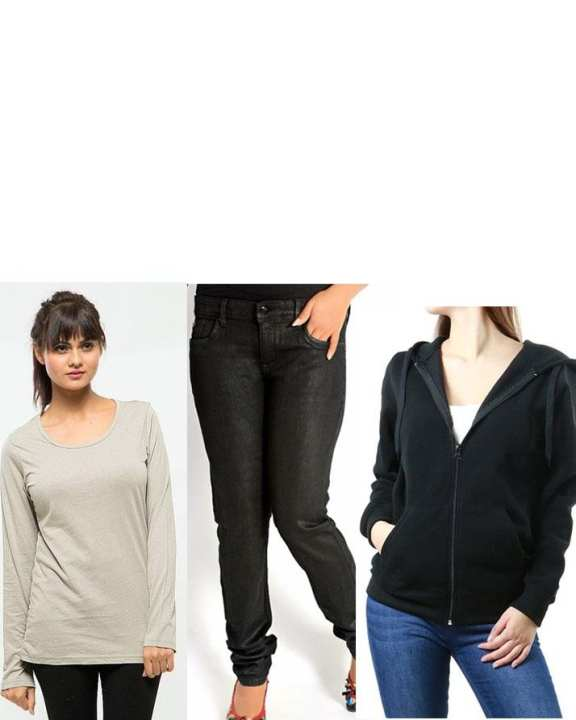 Pack Of 3 Grey Cotton T-Shirt, Black Skinny Jeans & Black Cotton Hoddie For Women
