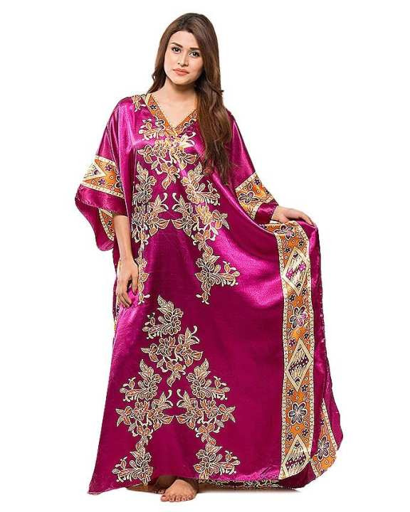 Purple & Cream Night Dress For Women