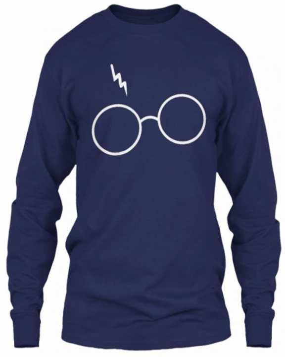 Navy Blue Cotton Printed T Shirt For Men HFT 034