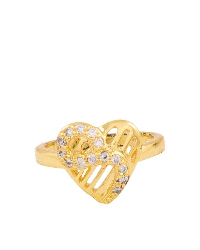 Golden Heart-Shapded Carved Zircon Studded Ring